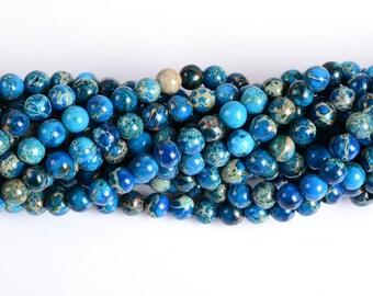 "0820 6mm Aqua blue sea sediment jasper round loose beads 16"""