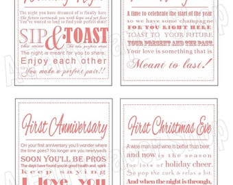 CORAL - DIY printable wine poem tags
