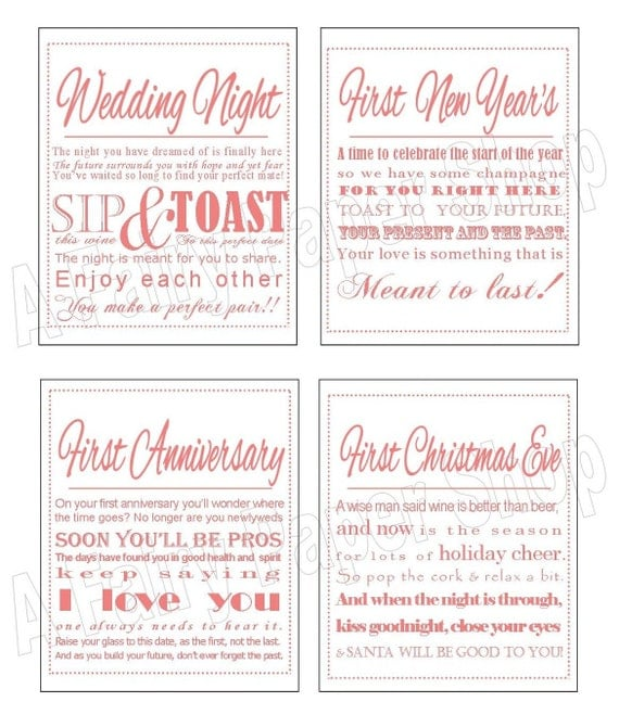 coral diy printable wine poem tags