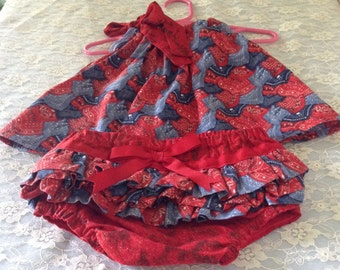 9-12 month pillowcase dress with ruffled bloomers