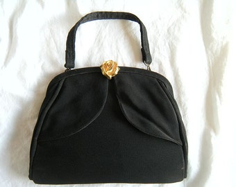 Sale!  Black Crepe Evening Bag with Gold Rose Foldover Clasp