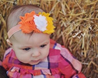 Candy Corn Shabby Flower Headband...Halloween,Fall Shabby Headband/Hard Headband.... Newborn, Baby, Girls Photo Prop Bow