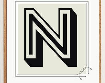 Mid-Century Modern Letter N