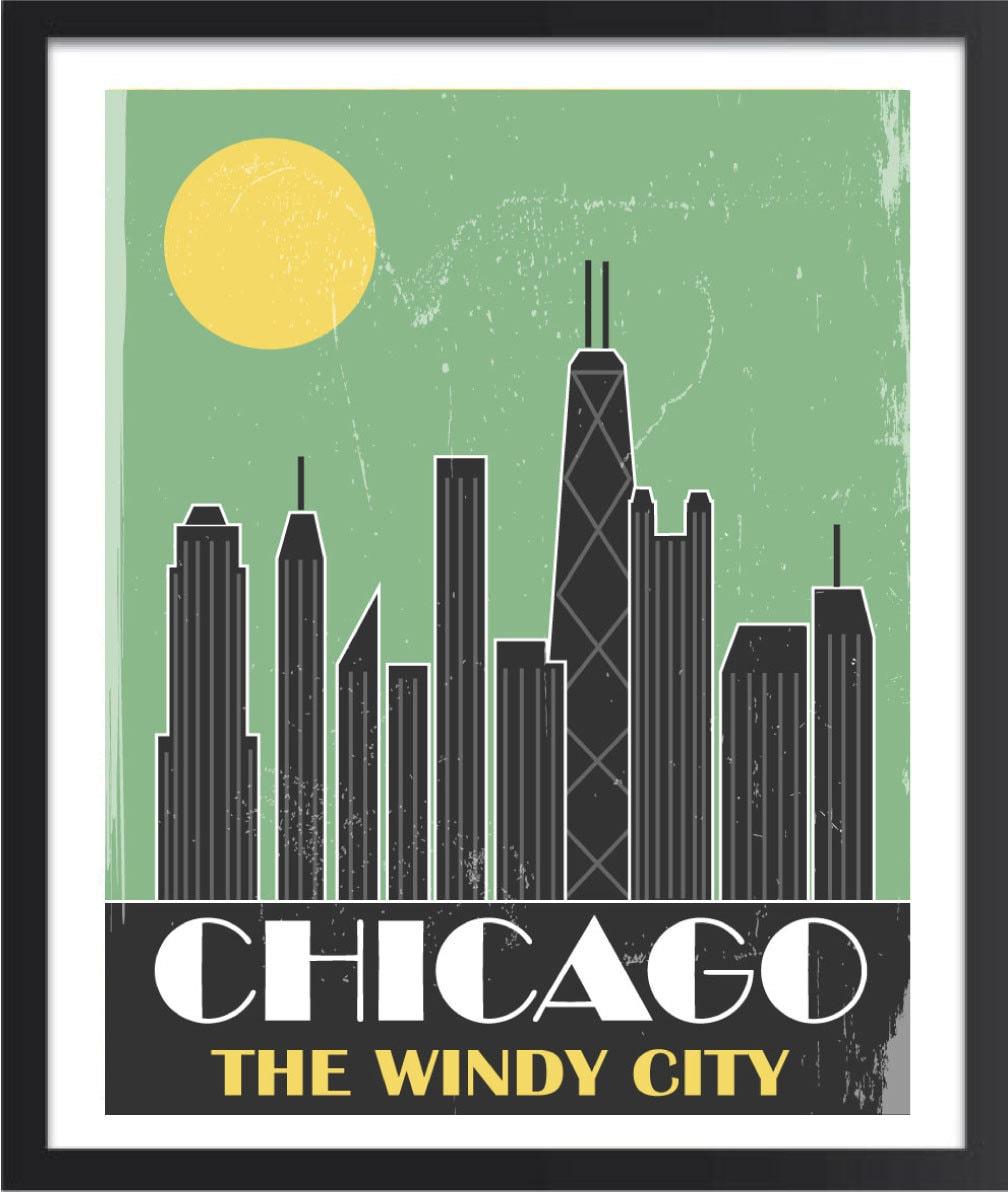Chicago Skyline Art Chicago Skyline Stock Chicago Skyline Poster - Chicago map artwork