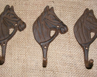 Wall Hook Horse Head Rustic Cast Iron Hanger SET OF 3  Western Ranch Barn House Home Decor Cowboy Crafts #404