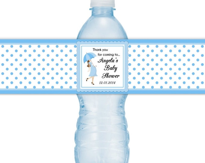 Baby Shower Water Bottle Labels, Umbrella, Polka dots, CUSTOM Baby Shower Water Bottle Labels, you print, you cut, DIY water bottle labels