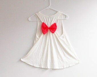 Clearance SALE Racer back Tank Top With Bow Back Low High Tank Top with Bow in different colors