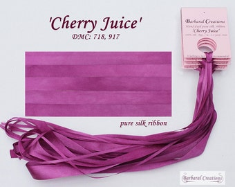Hand dyed 13mm wide pure silk ribbon, soie ruban - 'Cherry Juice'