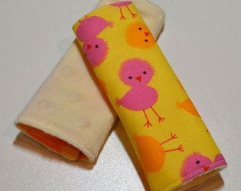 Car Seat Strap Covers - Pink, Yellow Chicks