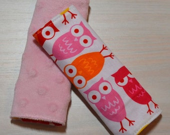 Car Seat Strap Covers - Pink, Red, Yellow Owls