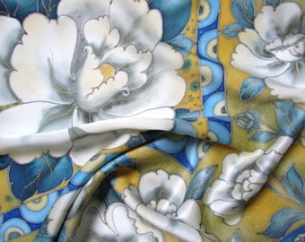 Hand painted Silk scarf  'White Peonies'.  Luxury gift for her. Made to order.