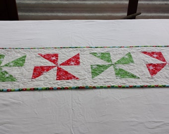Quilted Table Runner - Christmas Pinwheels - Price Reduced