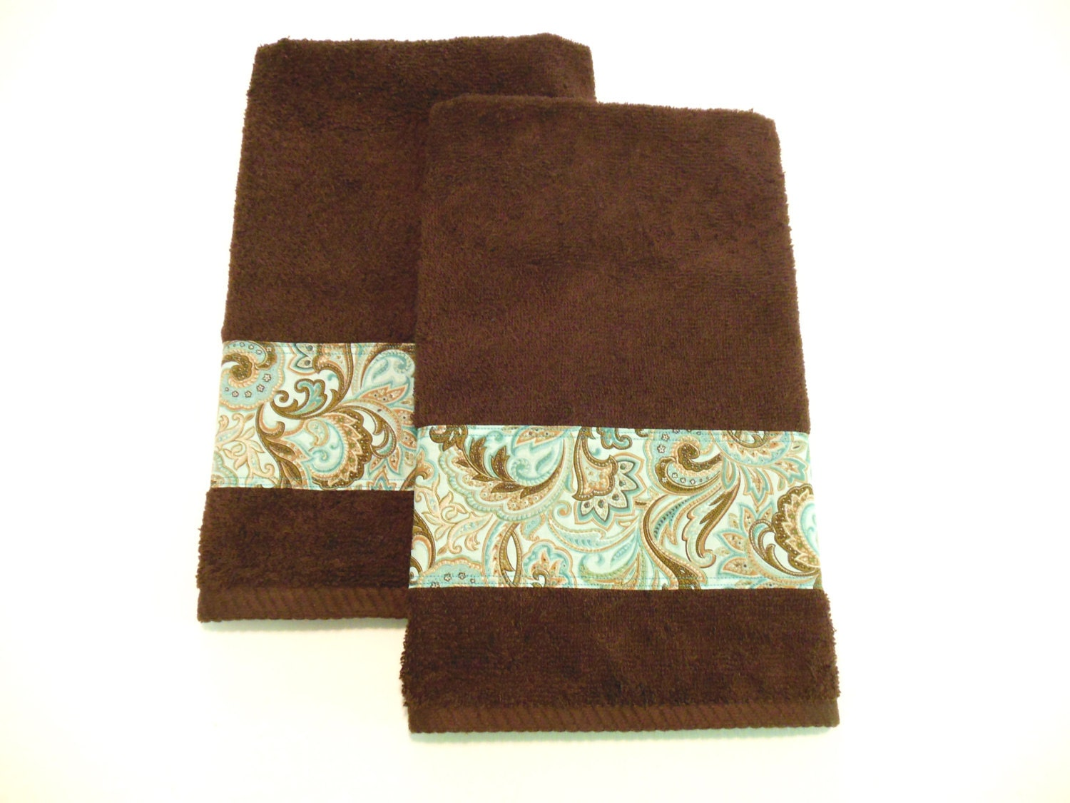 Brown Hand Towels Teal Turquoise Decorative Towels Bath Or