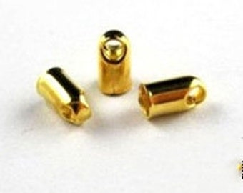 End Caps -100pcs gold or silver Plated End Cap Clasp Clips Wholesale Jewelry Findings 2x5mm