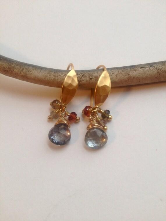 Sapphire Dangle Earrings, Genuine Sapphire Briolettes, September Birthstone, Tundra Sapphire, Minimalist Jewelry