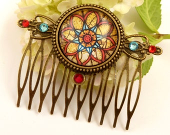Hair comb with mandala motif, rosette hair jewelry, gift for her , stained glass window, church window, colorful hair comb