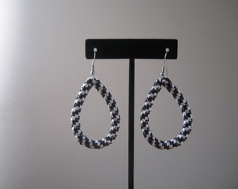 Black/White Teardrop Hoop Earrings