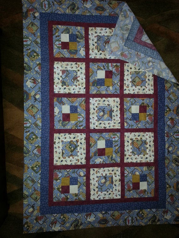 Large Lap Or Toddler Bed Quilt TOP In Out Fishing Pattern And