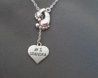 Footprint Grandma Necklace - Lariat Style