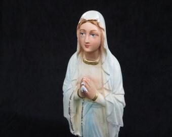 ANTIQUE RELIGIOUS STATUE, Virgin Mary, Madonna, Religious Statuary, Plaster statue, Religious gift, Religious decor, Art, Religious decor