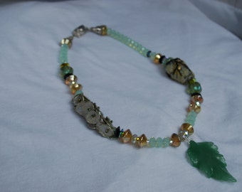 SALE Green & Gold Asian Vase Necklace