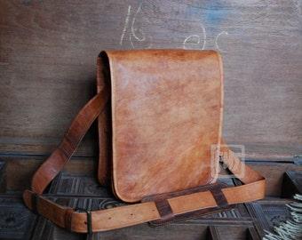 """FHT Camel Leather Messenger Bag Shoulder Satchel 9""""x11"""" Full Flap"""