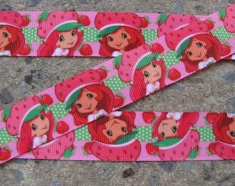 "3 yards Strawberry Short Cake Printed Ribbon 7/8"" Grosgrain Ribbon Pink ribbon Free Shipping all additional items"