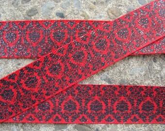 """3 yards Red and Black Ribbon Printed Ribbon 1"""" Ribbon Hair Bow Ribbon hair bow supplies Free Shipping"""
