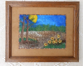 Framed Landscape mixed media collage fiber art for wall, felted wool, embroidered flowers, thread painted, ready to hang, alpaca, trending 1