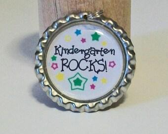 Colorful Kindergarden Rocks Back to School Flattened Bottlecap Pendant Necklace