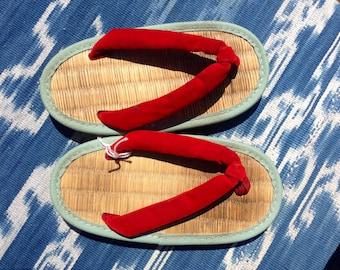 Japanese velvet bamboo tatami sandals