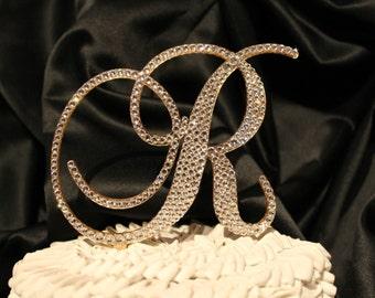 "5"" Monogram GOLD Wedding Cake Topper. Gold Initial Cake Topper Swarovski Crystals letter A B C D E F G H I J K L M N O P Q R S T U V W X Y Z"