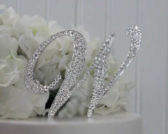 "4"" Monogram Wedding Cake Topper Decorated with Swarovski Crystals in Any Letter A B C D E F G H I J K L M N O P Q R S T U V W X Y Z"