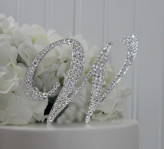 swarovski crystal monogram wedding cake toppers 4 monogram wedding cake topper decorated with swarovski 20675