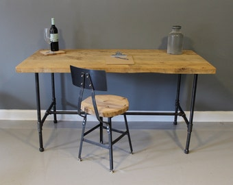 Modern Industrial Desk, Urban Reclaimed Wood Desk with Raw Charcoal Pipe Legs