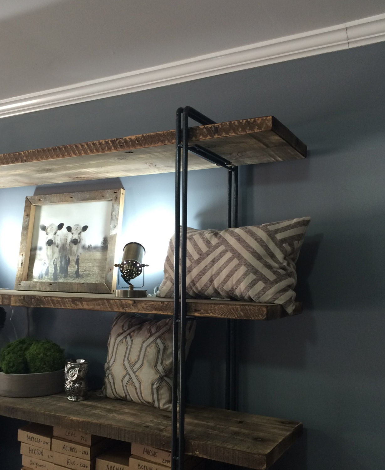 Superb img of Reclaimed Wood Bookcase Shelving Unit Reclaimed Wood by DendroCo with #4E6D7D color and 1228x1500 pixels