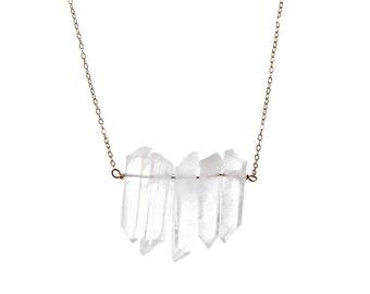 Raw Quartz Necklace clear quartz point necklace
