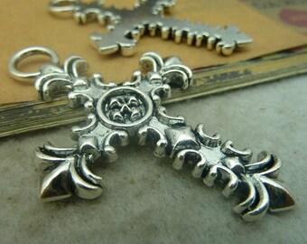 3pcs 42x62mm Antique Sliver Cross Charm Pendant
