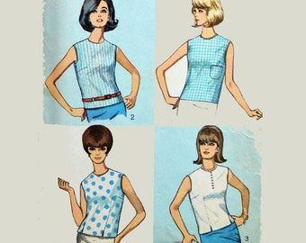 Vintage 60s Blouse Pattern / Simplicity 6316 Womens Vintage Sewing Patterns / Sleeveless Blouse 1960s Patterns / Bust 32