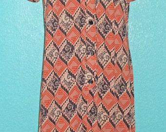 1970s Vintage Nylon Jersey Deco Print Short Sleeve Dress — Size L or 12/14