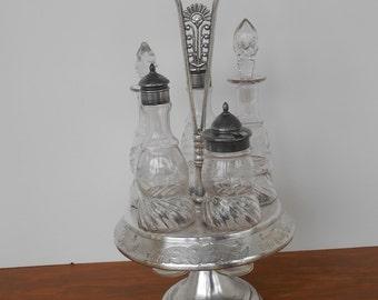 SALE - Antique Cruet Set - Silver Plate Stand with 5 Etched Bottles - Meriden Co Stamp - Salt Pepper Vinegar Oil