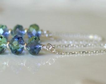 Swarovski crystal earrings, silver ear threads, Swarovski threader earrings, Swarovski chrysolite ear threads, jewelry gift
