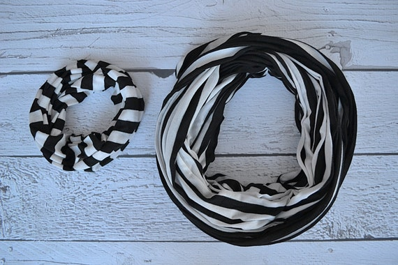 White and Black Stripe Mother/Daughter Matching Infinity Scarf Set
