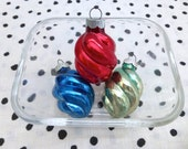 Vintage Shiny Brite Christmas Ornaments, Small Twist Ornaments in Red, Blue and Green, Set of 3