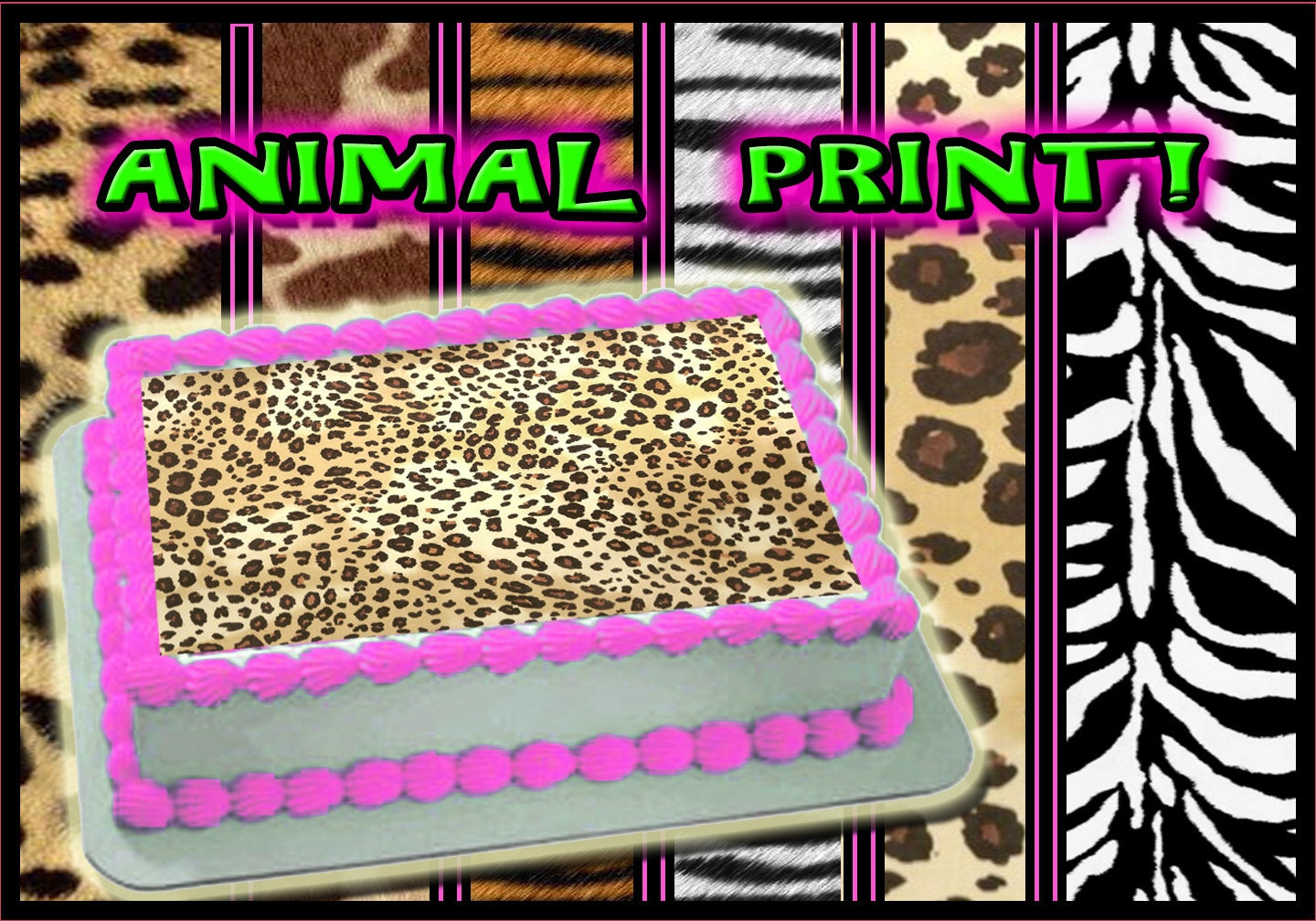 Animal print edible cake or cupcake toppers by pictures4cakes for Animal print edible cake decoration