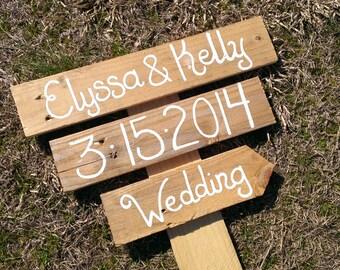 wedding directional sign, beach wedding decor, rustic wedding sign
