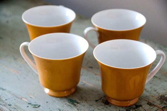 Retro Tea Coffee Cups And Saucers Orange 70s Design