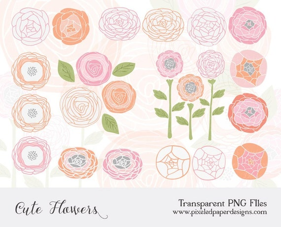 PINK FLOWERS DIGITAL CLIPART