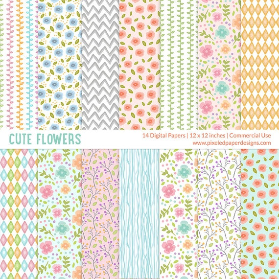 Cute Flowers Digital Paper