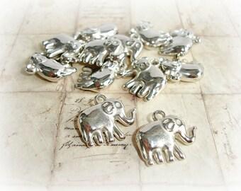 Antique Silver Elephant Pendant Charm
